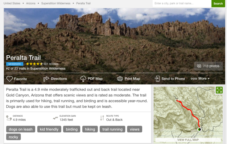 Screen shot Peralta Trail